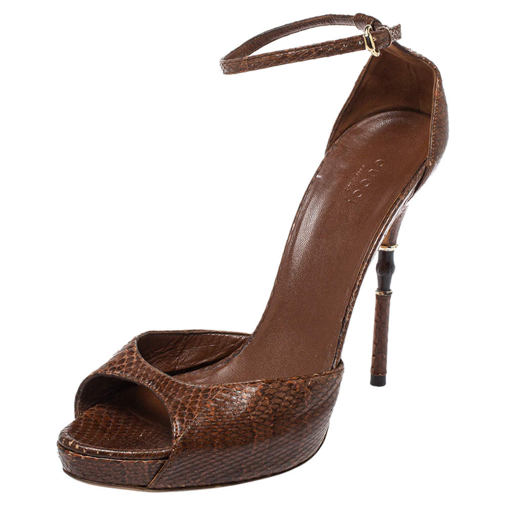 Gucci Brown Python Bamboo Heel Platform Ankle Strap Sandals Size 40