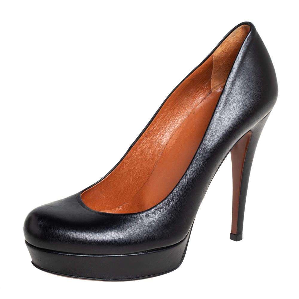 Gucci Black Leather Platform Pumps Size 35.5