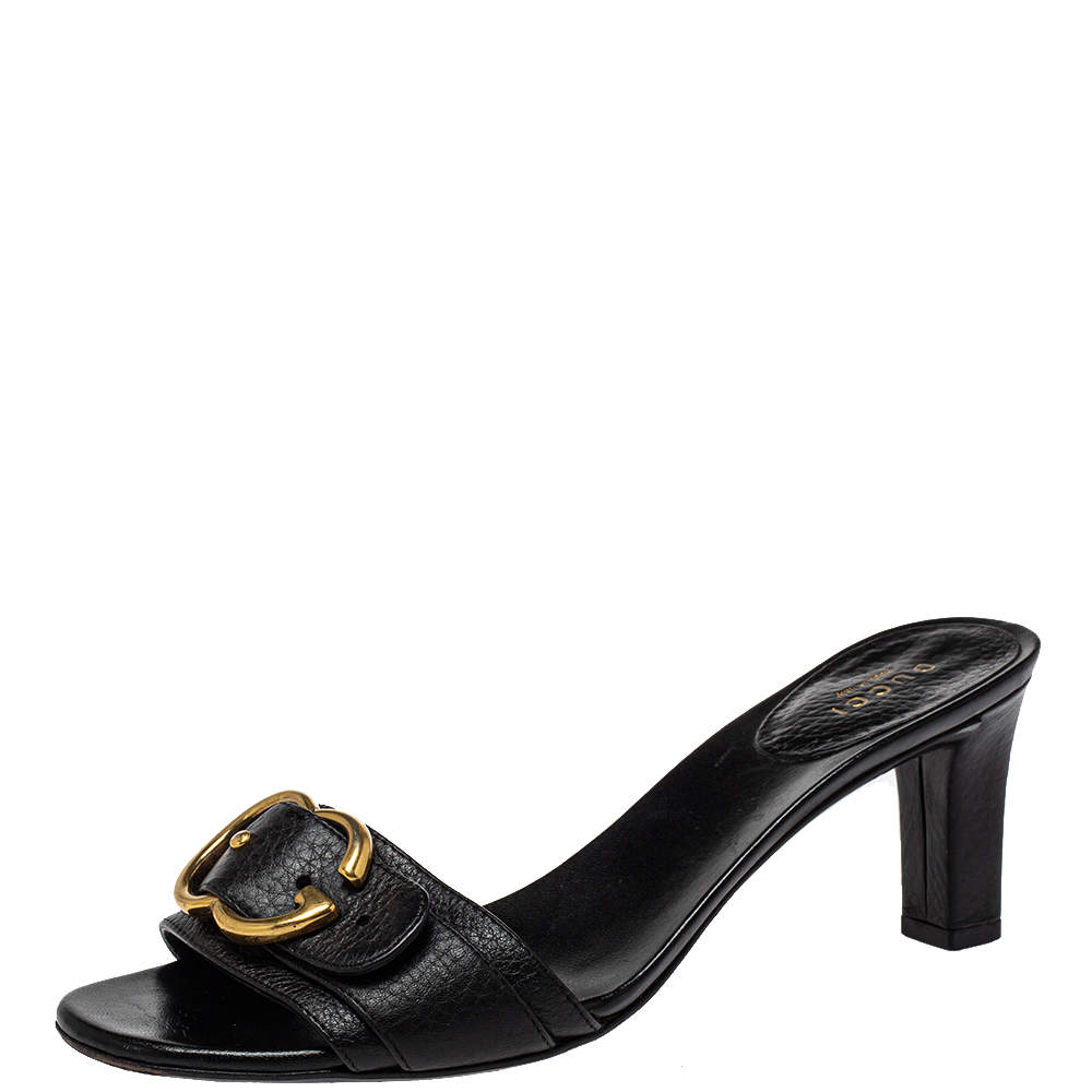 Gucci Black Leather Sachalin Buckle Detail Slide Sandals Size 38