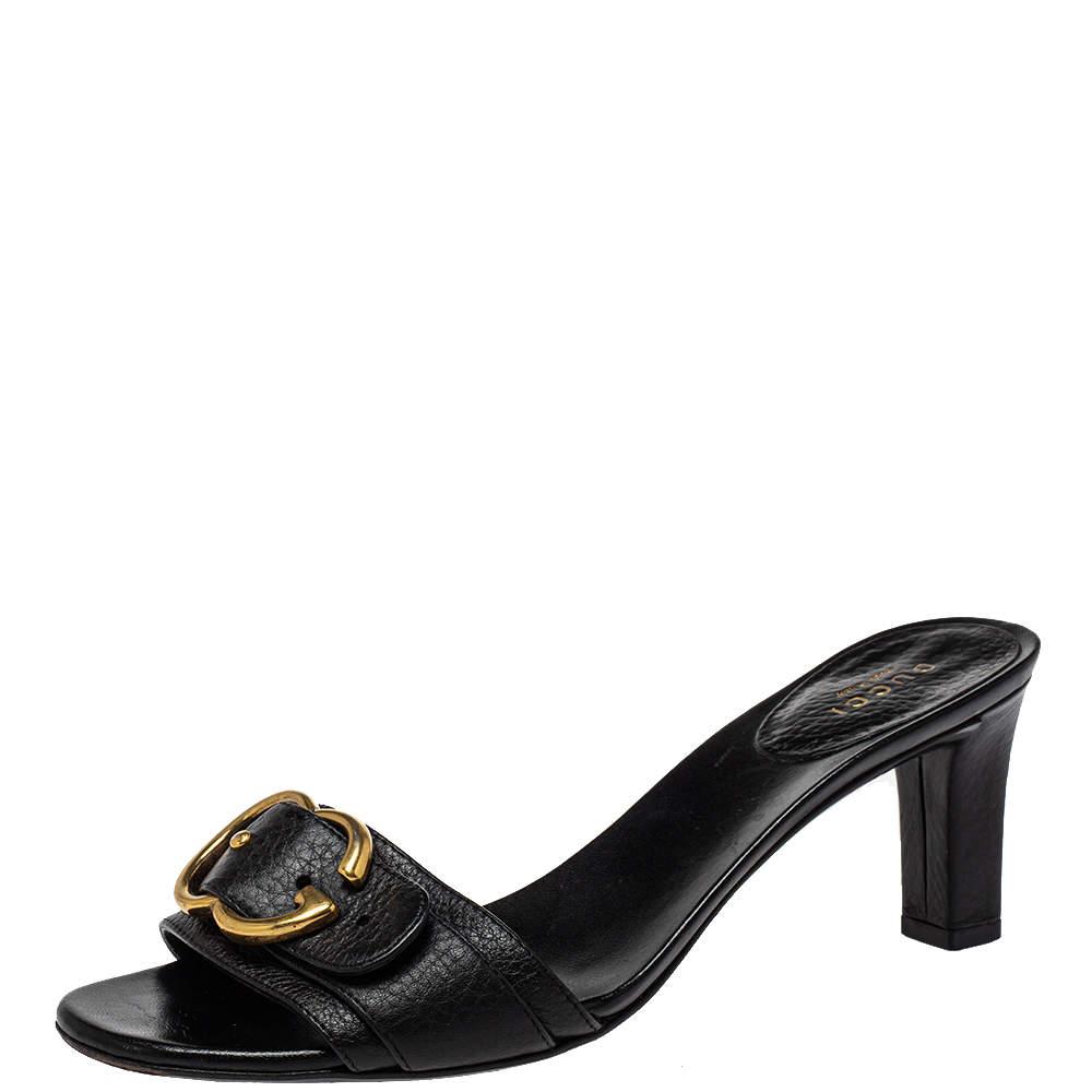 Gucci Black Leather Sachalin Buckle Detail Slide Sandals Size 38