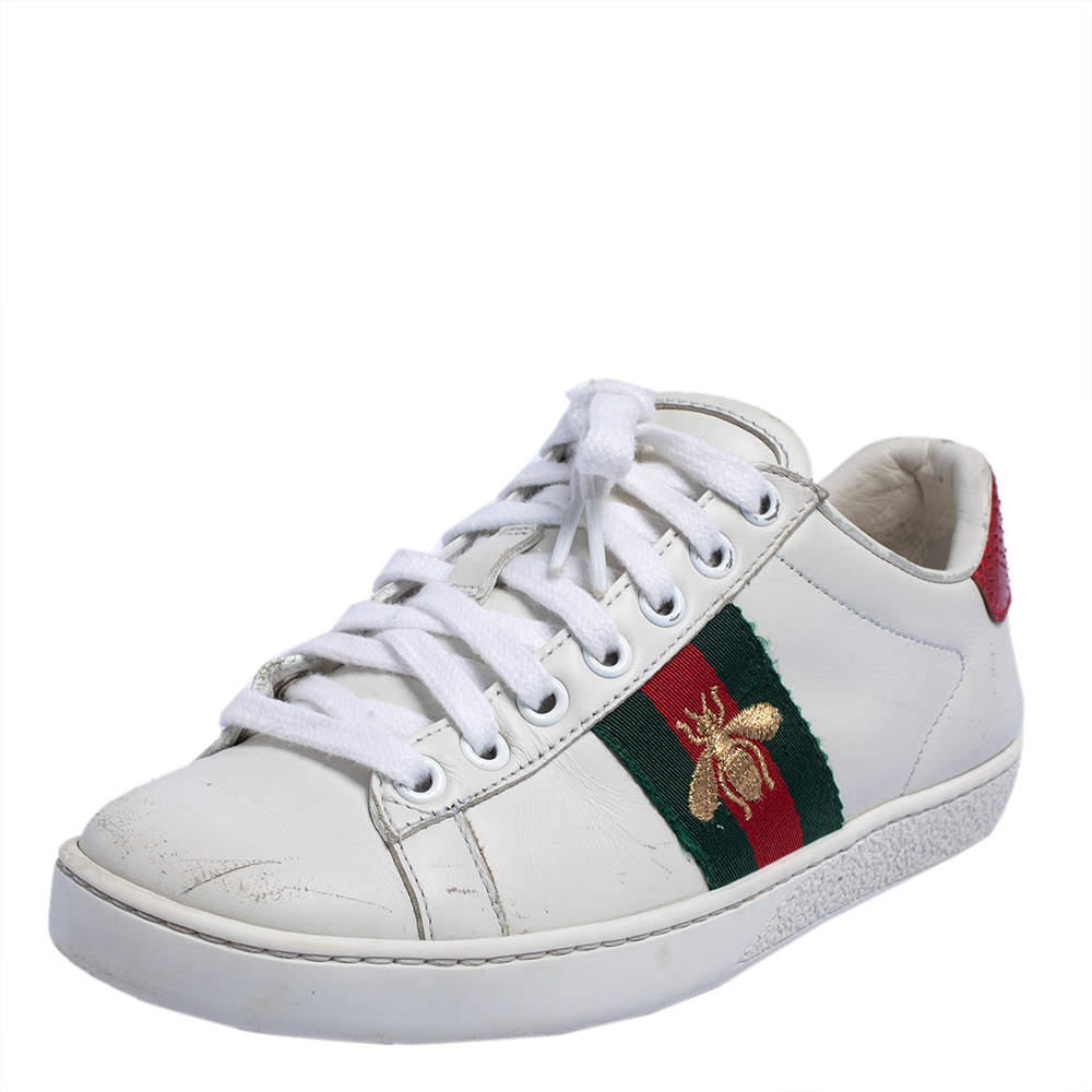 Gucci White Leather Embroidered Bee Ace Low Top Sneakers Size 34