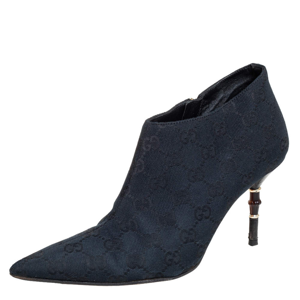 Gucci Navy Blue Canvas Guccissima Pointed-Toe Ankle Boots Size 37.5