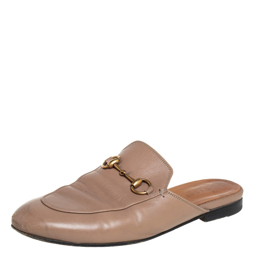 Gucci Beige Leather Princetown Horsebit Mules Size 36