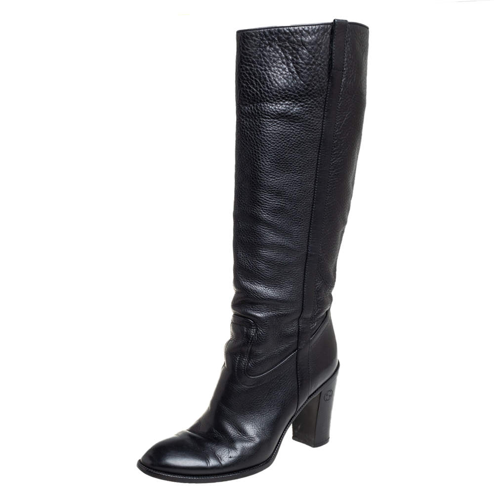 Gucci Black Leather Knee Length Boots Size 39.5