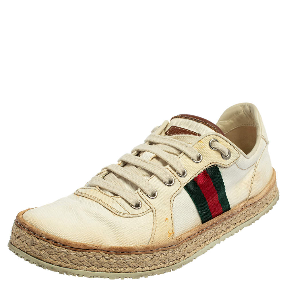 Gucci Off White Canvas Web Low Top Espadrille Sneakers Size 40