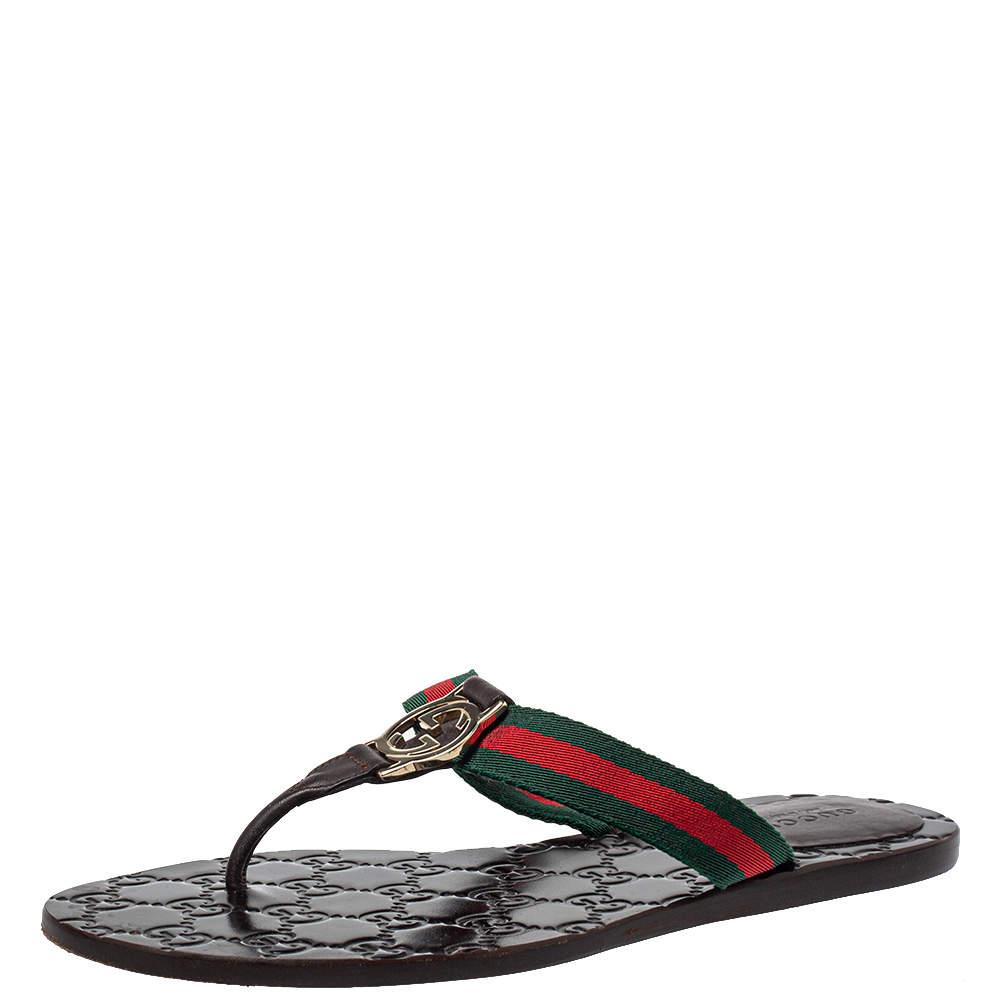 Gucci Brown Leather Web Interlocking G Thong Flats Size 37