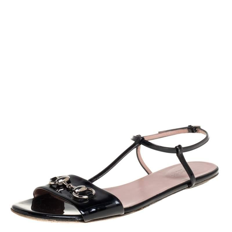 Gucci Black Patent Leather Horsebit Sandals Size 38.5