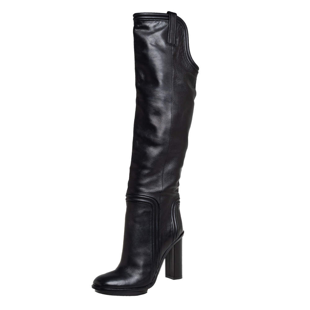 Gucci Black Leather Lifford Knee-Length Boots Size 39.5
