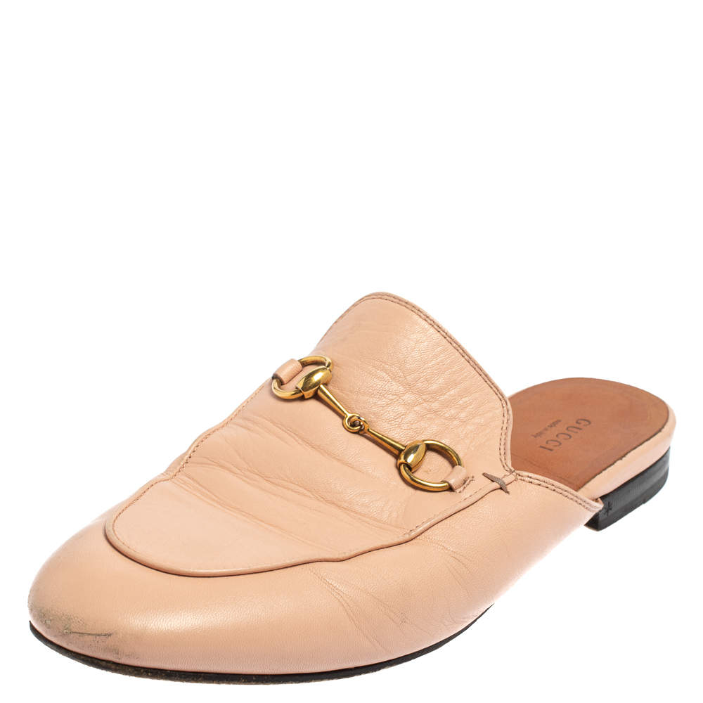 Gucci Pink Leather Princetown Horsebit Mules Size 39