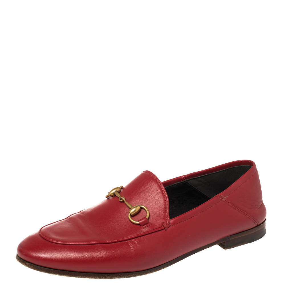 Gucci Red Leather Foldable Slim Horsebit Loafers Size 37