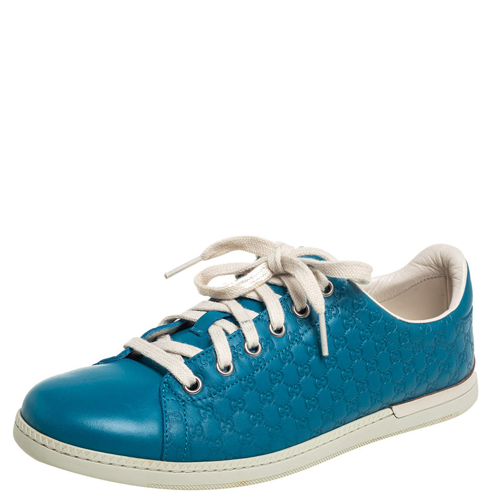 Gucci Micro Blue Guccissima Leather Low Top Sneakers Size 38