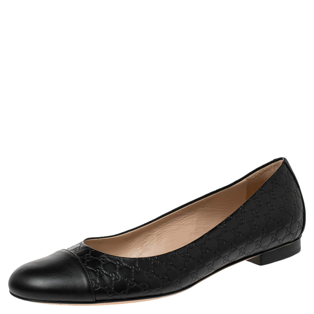 Gucci Black Microguccissima Leather Cap Toe Ballet Flats Size 38