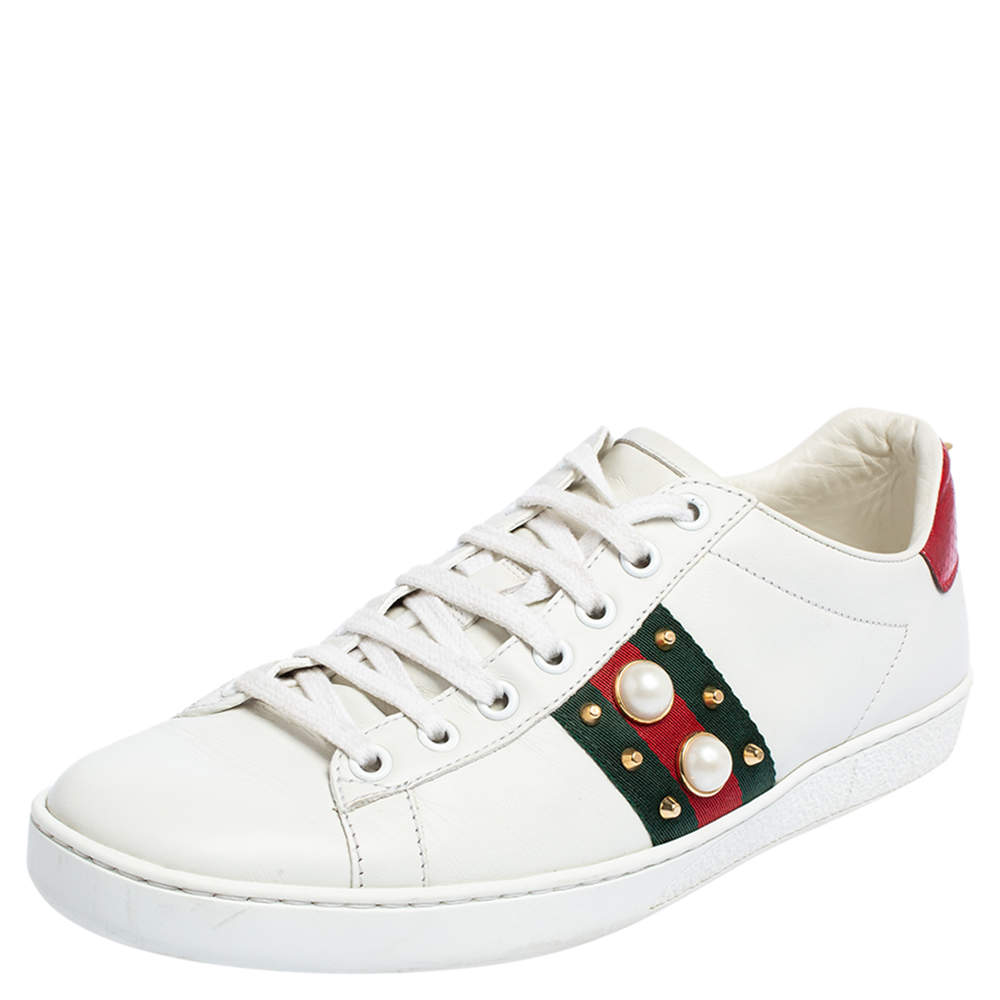 Gucci White Leather New Ace Web Faux Pearl Embellished Low Top Sneakers Size 39