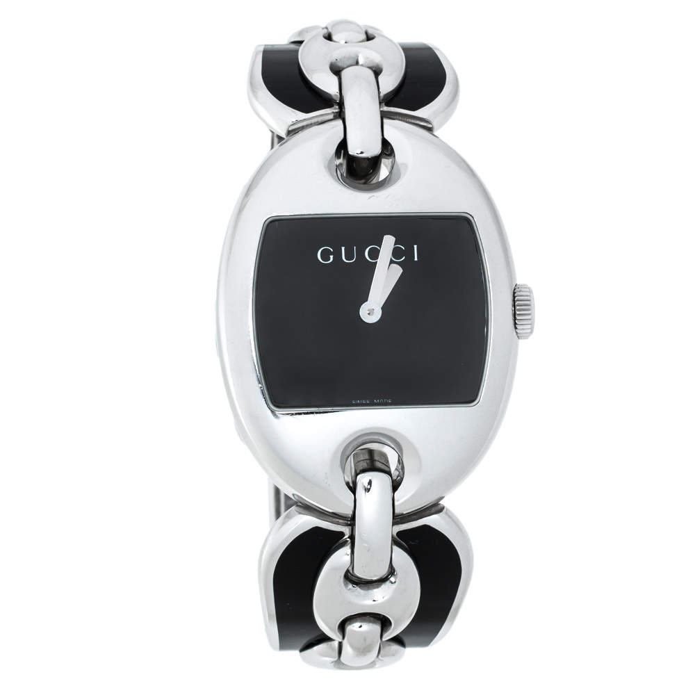 Gucci Black Stainless Steel Marina Chain 121.3 Women's Wristwatch 32MM