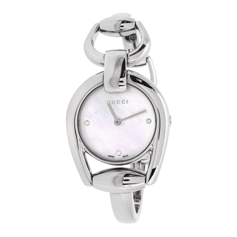 Gucci Mother Of Pearl Stainless Steel Horsebit 139.5 Women's Wristwatch 28 mm