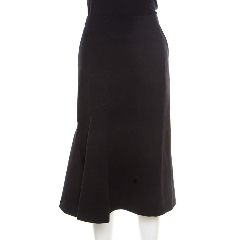 Guy Laroche Couture Black Wool Flared Skirt L