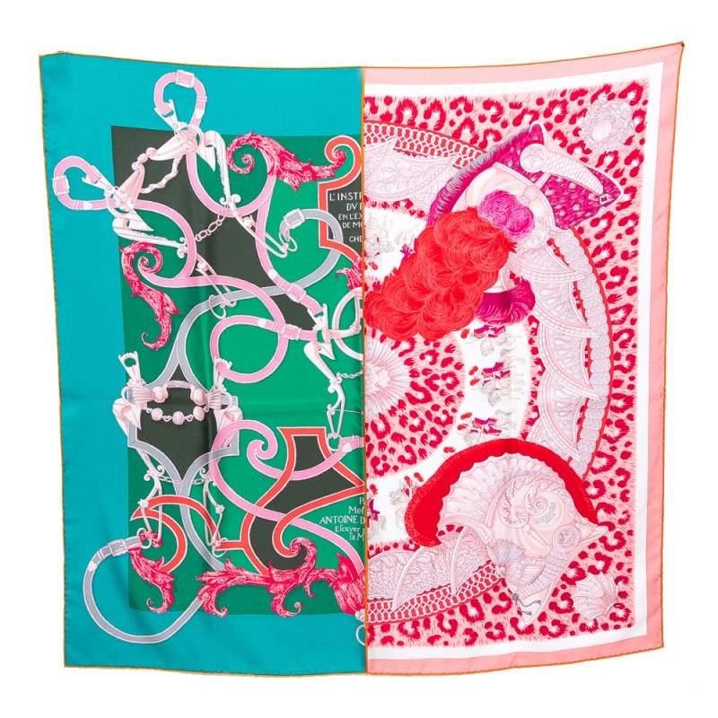 Hermes Green & Rose Plumets Du Roy Silk Scarf