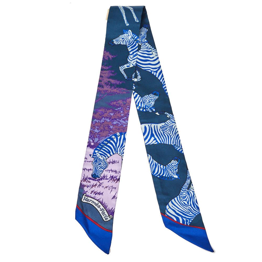 Hermès Bleu Roy Les Zebres Silk Twilly