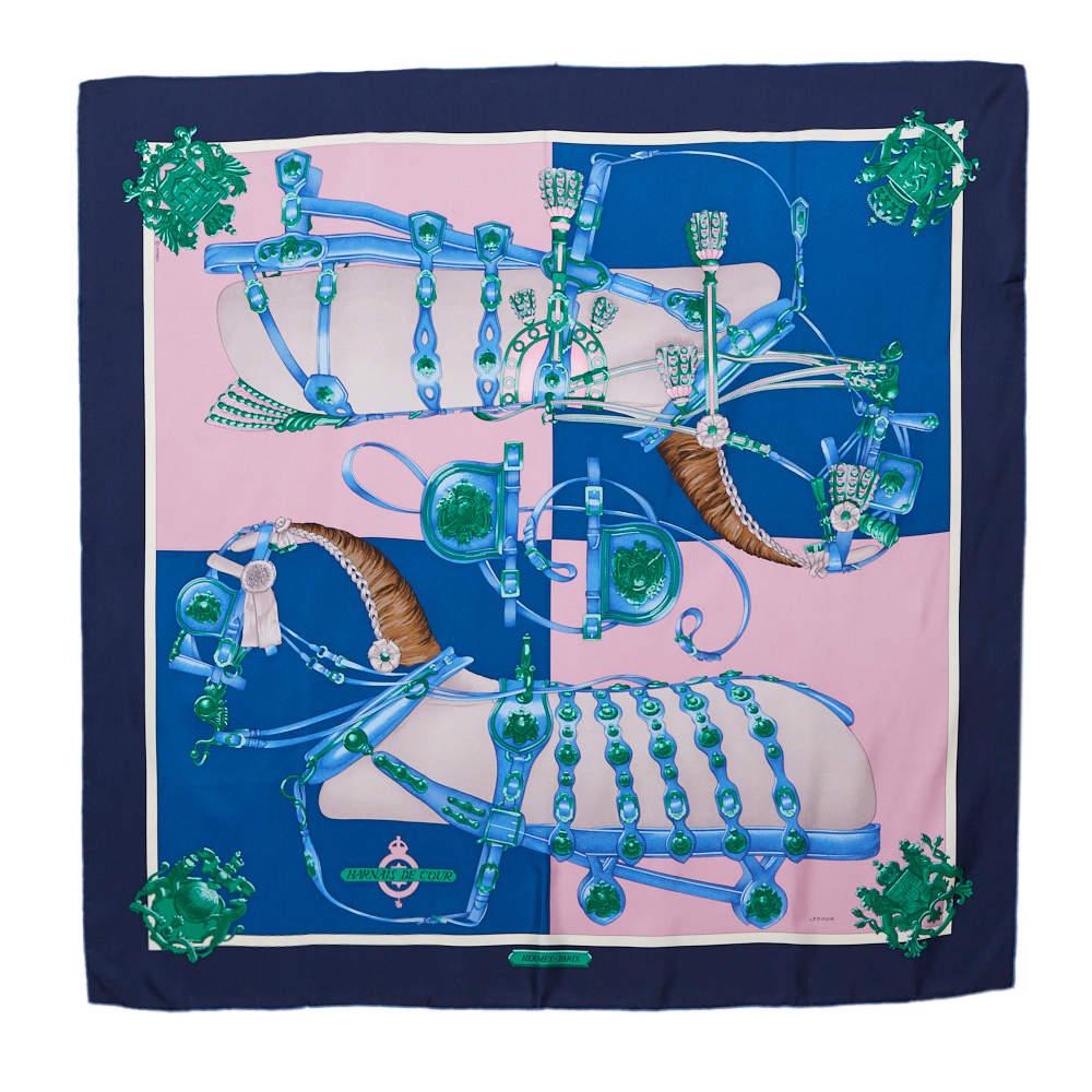 Hermes Marine Blue Harnais De Cour Silk Scarf