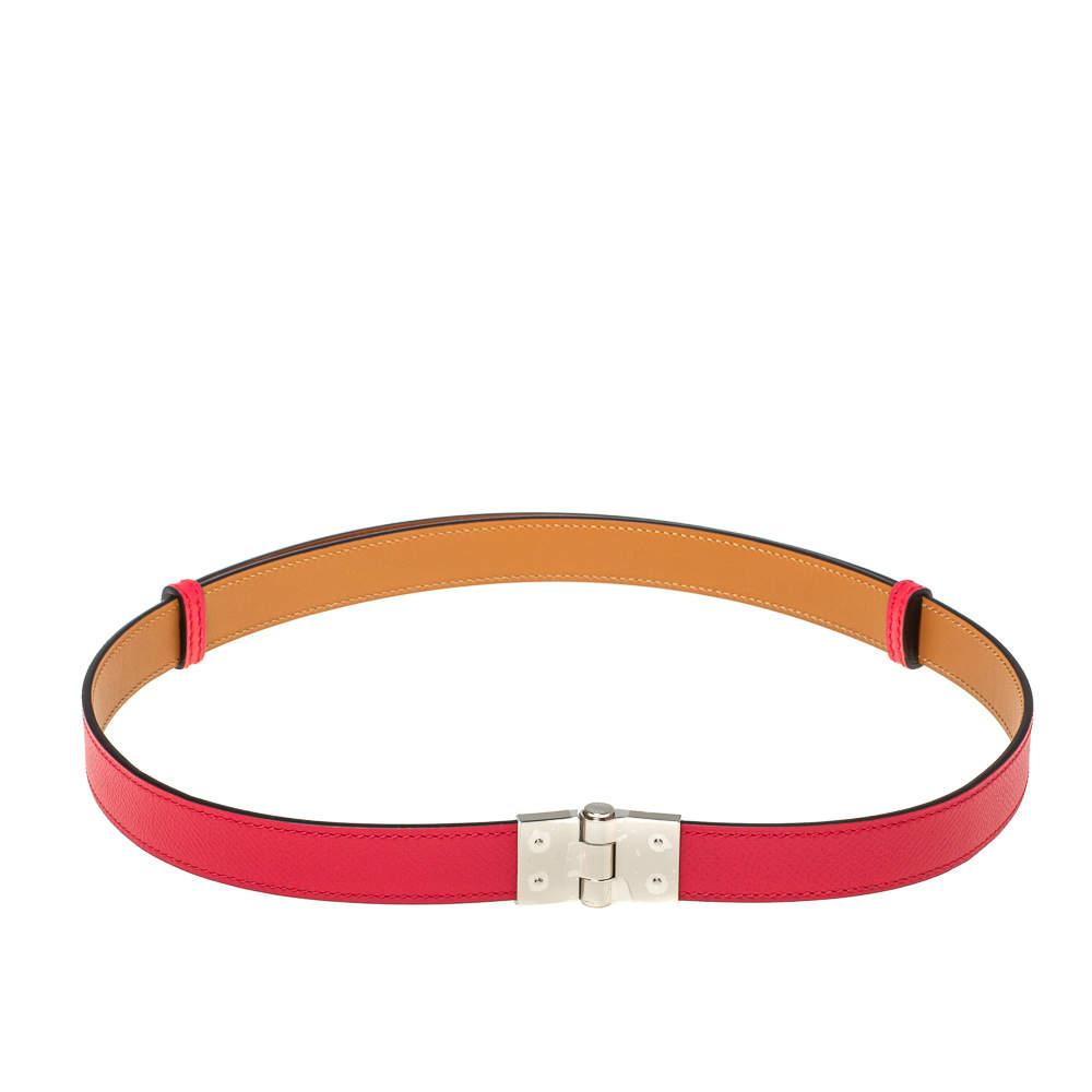 حزام هيرمس شارنير جلد إبسوم وردي