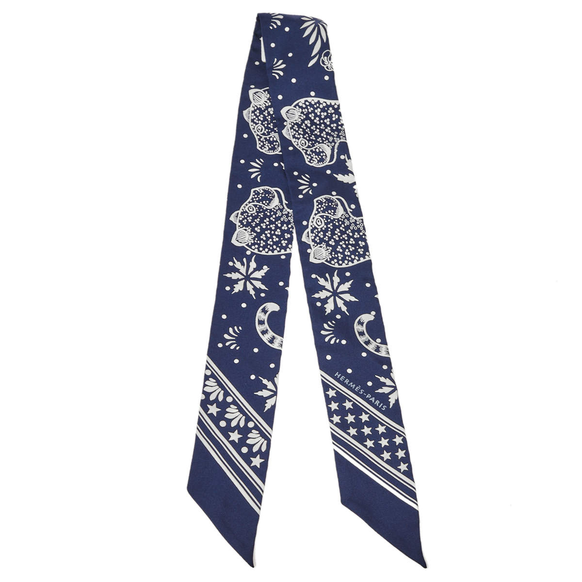 Hermes Navy Blue Les Leopards Silk Bandana Twilly
