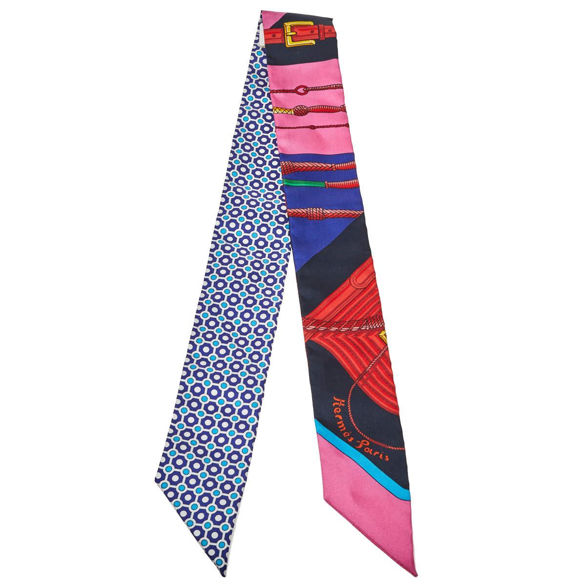 Hermes Blue & Rose Clic-Clac Modern Cannage Silk Twilly Scarf