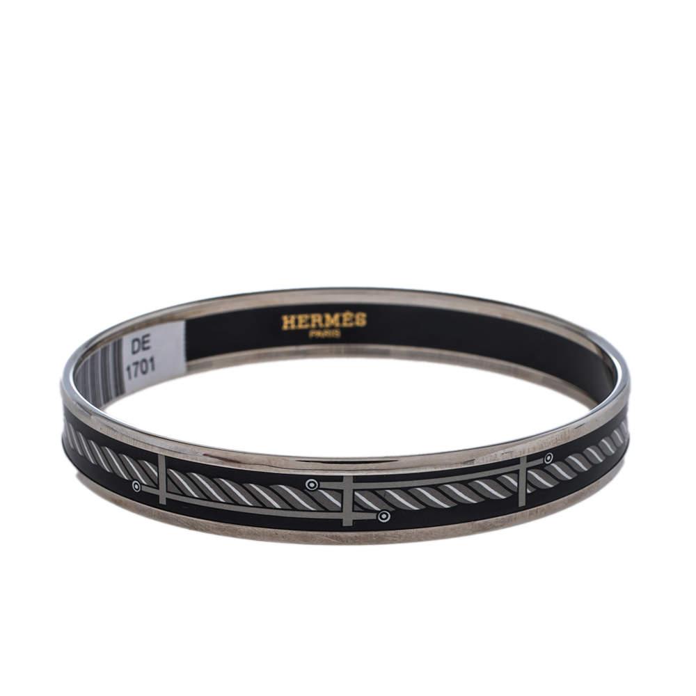 Hermès Sans Coloris Narrow Enamel Palladium Plated Bangle Bracelet