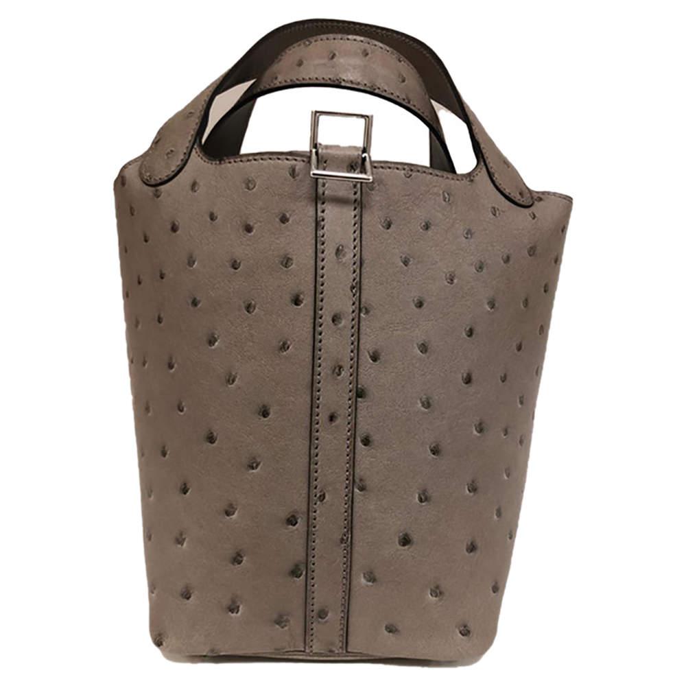 Hermès Grey Asphalt Ostrich Leather Picotin Lock 18 Bag