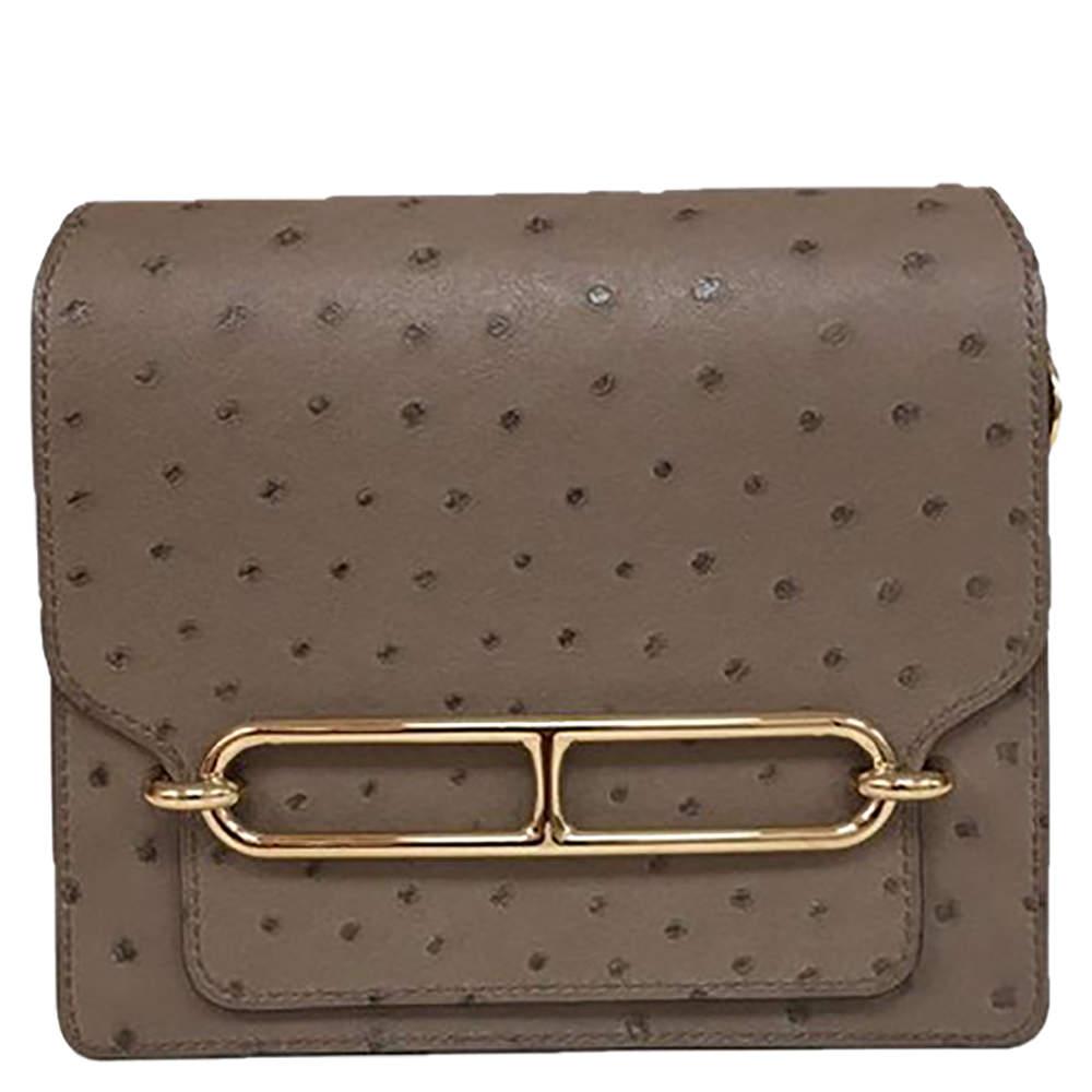 Hermès Grey Asphalt Ostrich Leather Mini Roulis 18 Bag