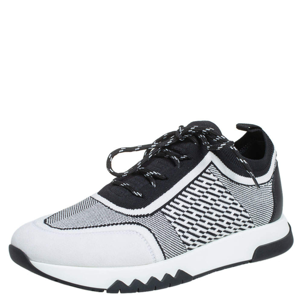 Hermes Black/White Suede And Knit Fabric Addict Sneakers Size 38.5