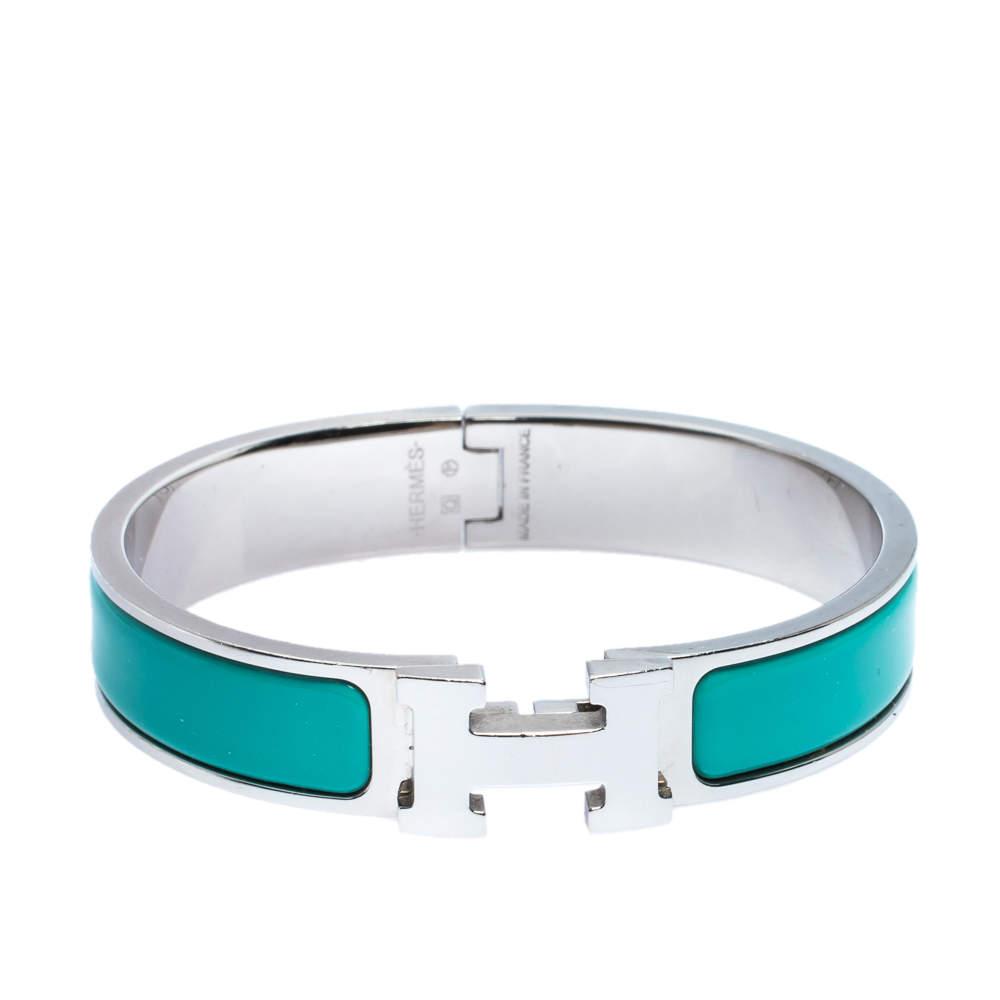 Hermès Clic H Green Enamel Palladium Plated Narrow Bracelet PM