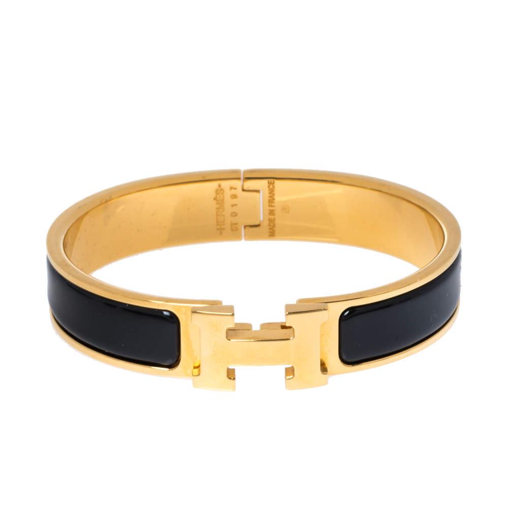 Hermes Clic H Black Enamel Gold Plated Narrow Bracelet PM