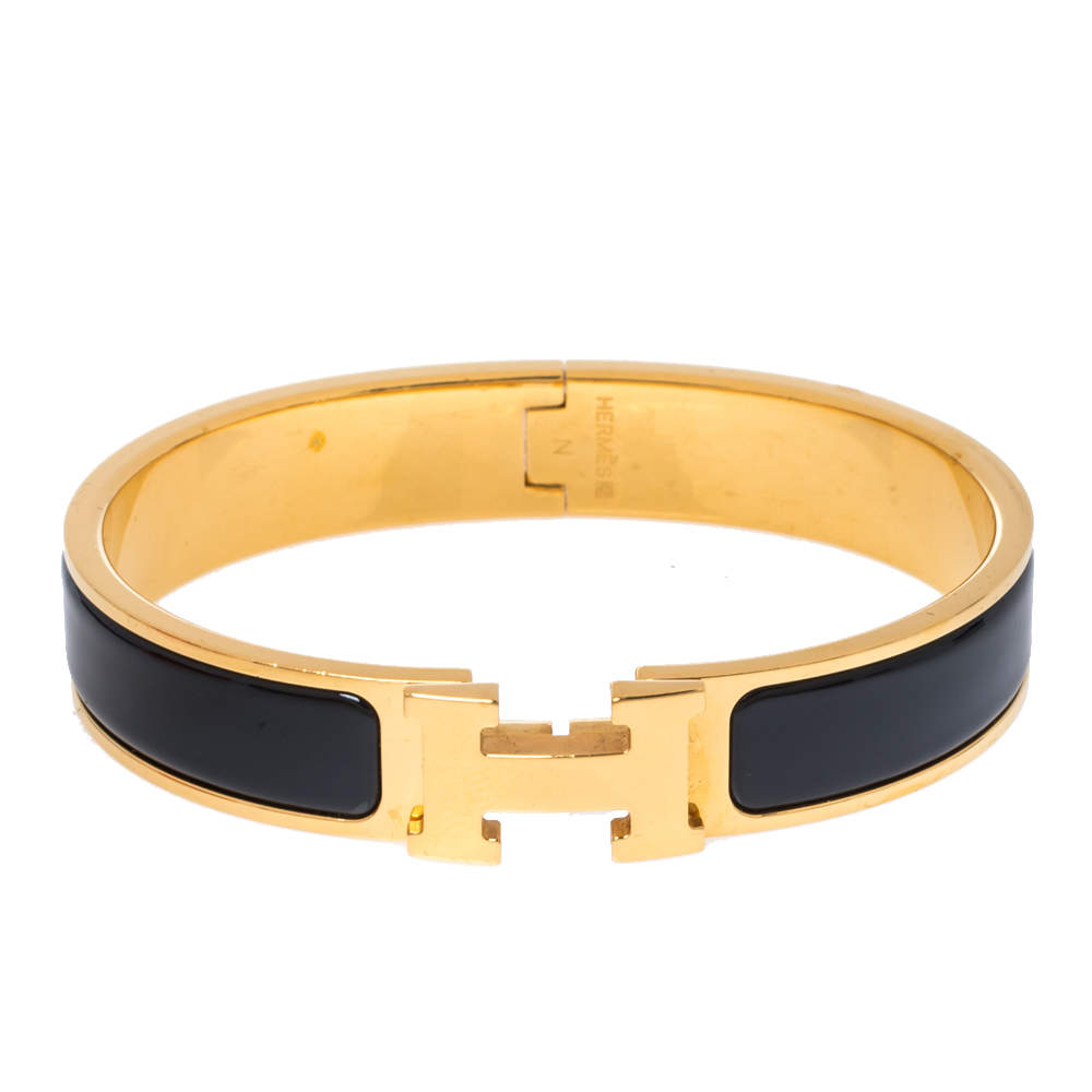 Hermes Clic H Black Enamel Gold Plated Narrow Bracelet GM