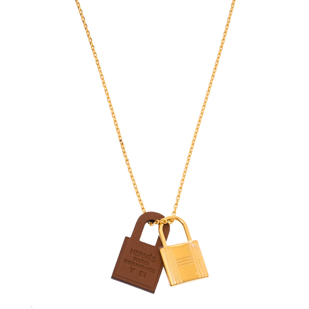 Hermès Brown Leather Small O'Kelly Pendant Necklace