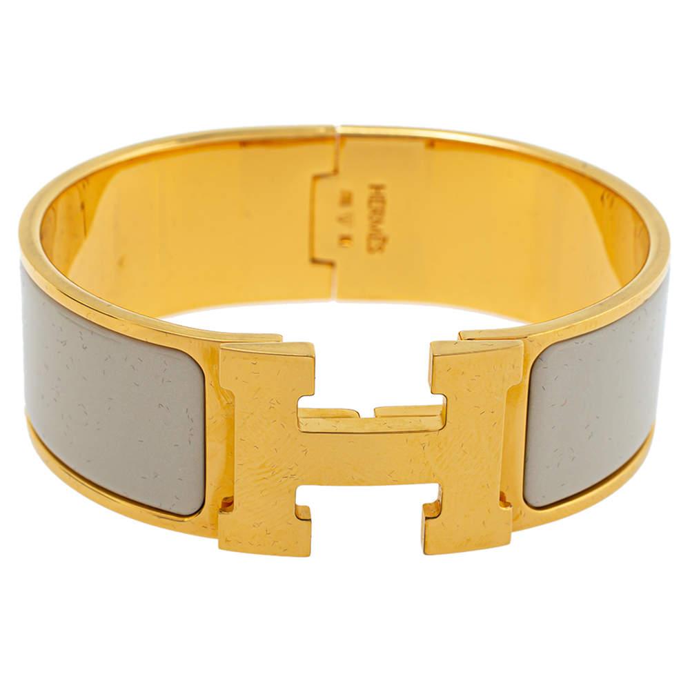 Hermès Clic Clac H Cream Enamel Gold Plated Wide Bracelet PM