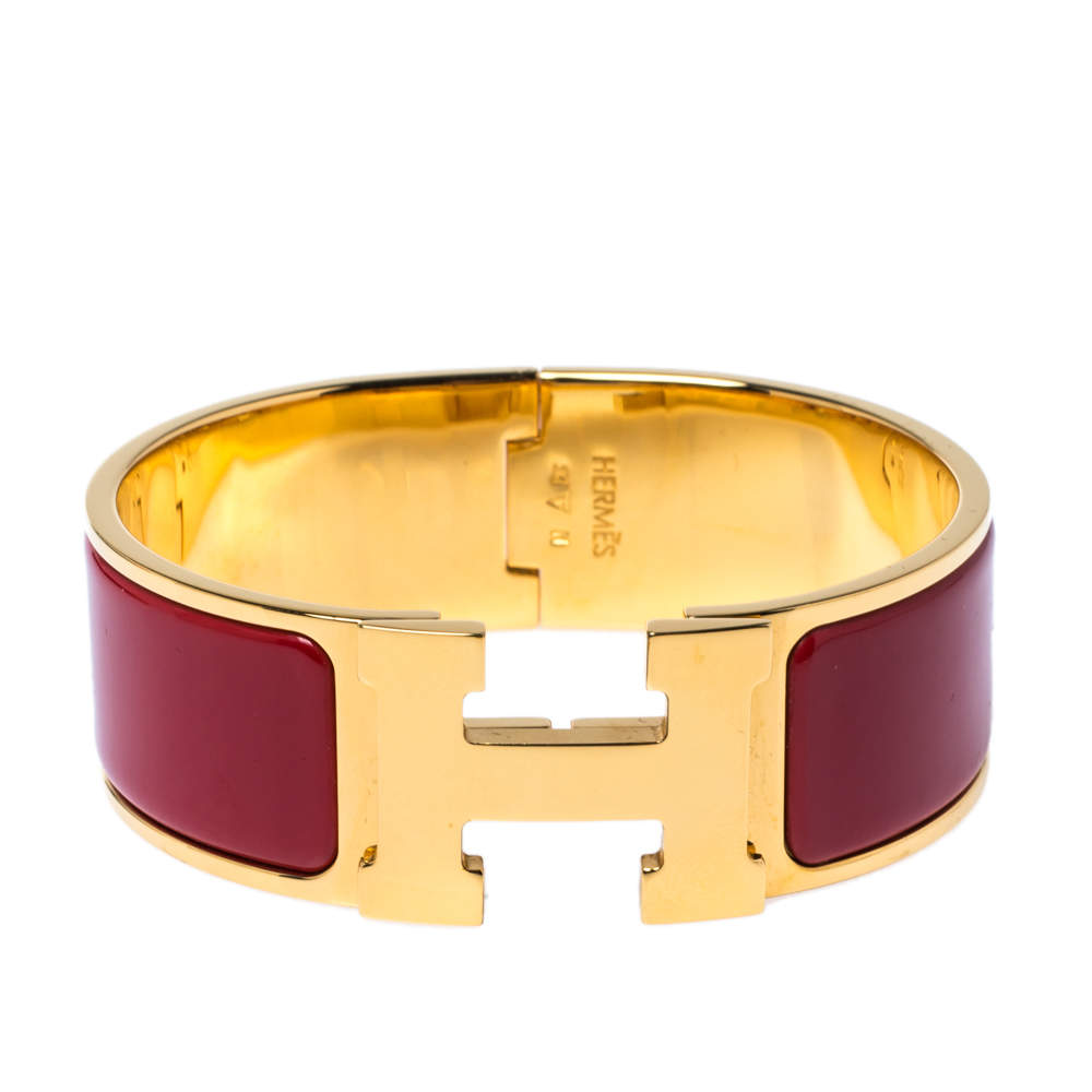 Hermès Clic Clac H Red Enamel Gold Plated Wide Bracelet PM
