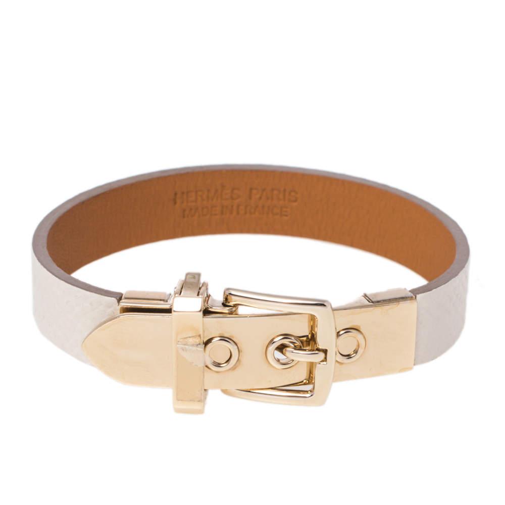 Hermès Java 10 White Leather Gold Plated Bracelet XS