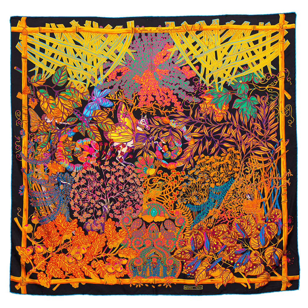 Hermès Black & Orange Mythes et Metamorphoses Silk Scarf