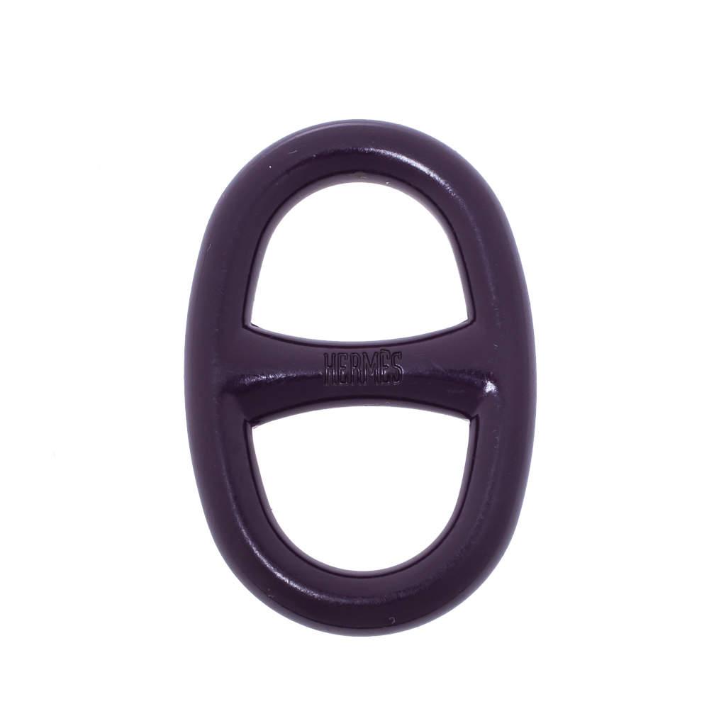 Hermès Purple Lacquer Chaîne d'Ancre Metal Scarf Ring