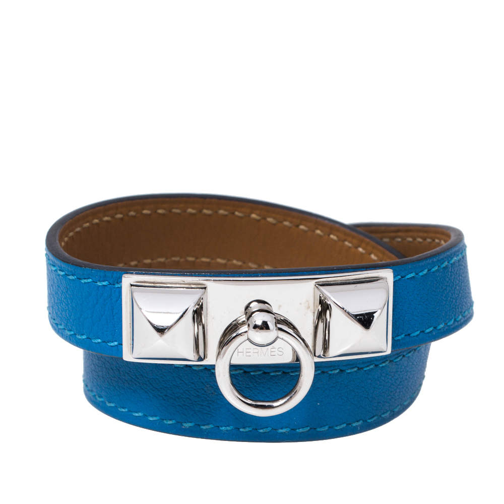 Hermes Rivale Blue Leather Palladium Plated Double Tour Bracelet XS