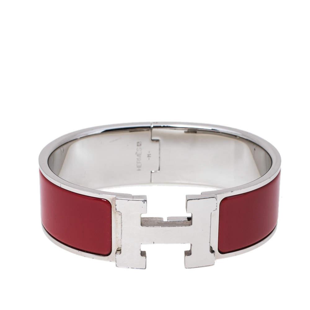 Hermès Clic Clac H Red Enamel Palladium Plated Bracelet GM