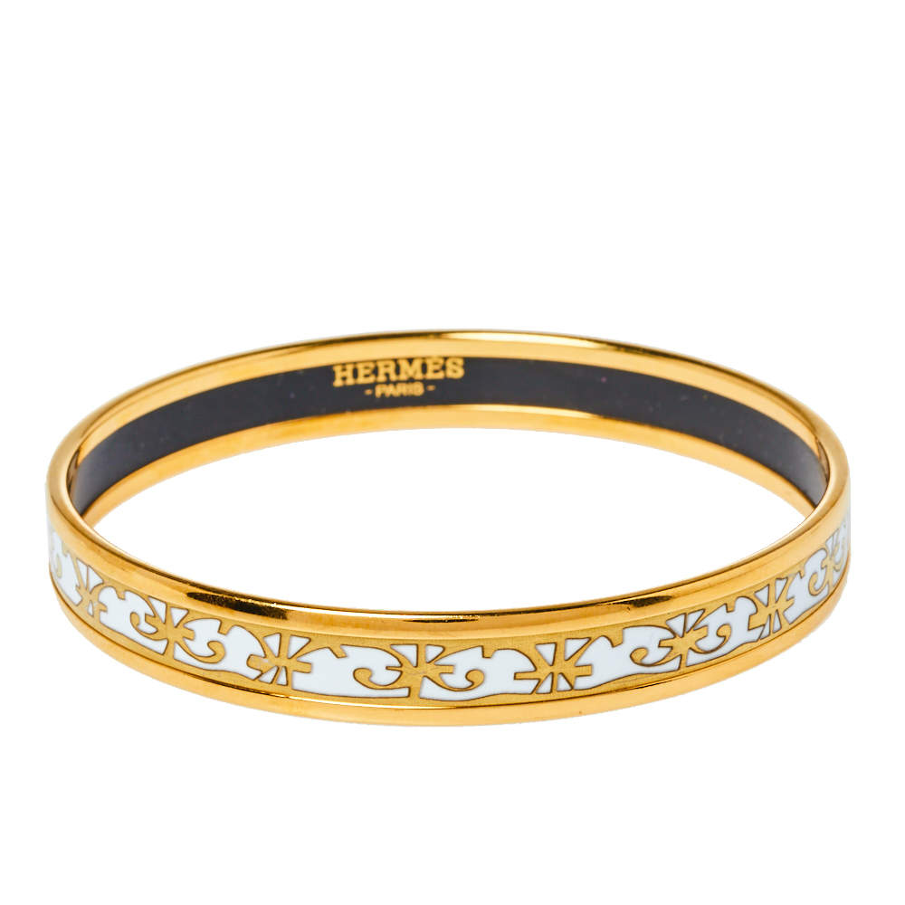 Hermès Balcons du Guadalquivir White Enamel Gold Plated Narrow Bangle