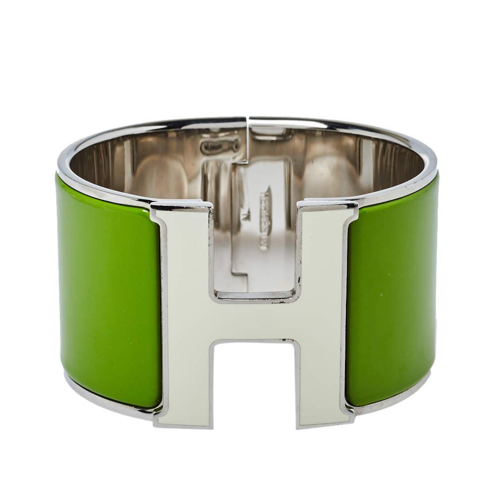 Hermès Clic Clac H White Lacquered Green Enamel Palladium Plated Extra Wide Bracelet PM