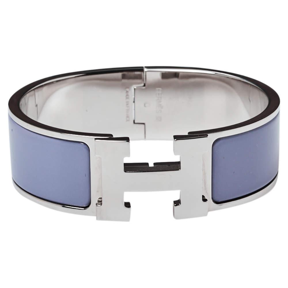Hermès Clic Clac H Grey Enamel Palladium Plated Wide Bracelet GM