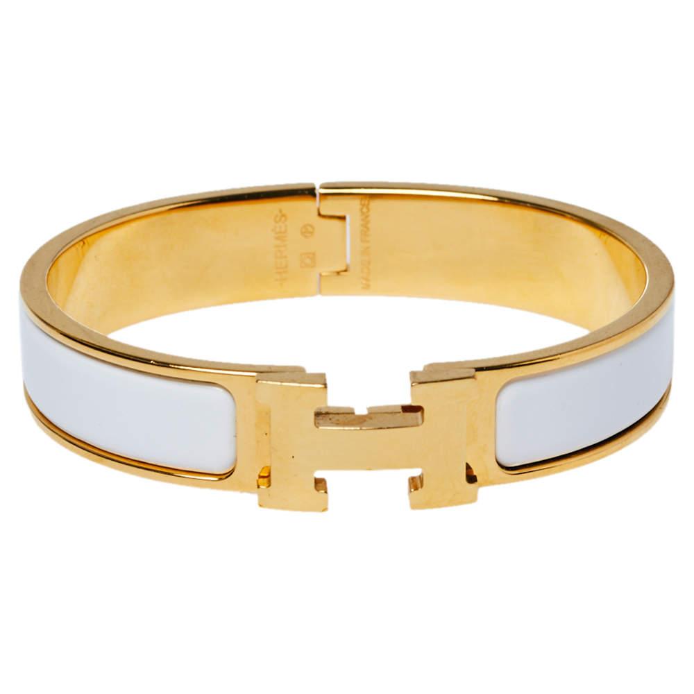 Hermès Clic H White Enamel Gold Plated Narrow Bracelet PM
