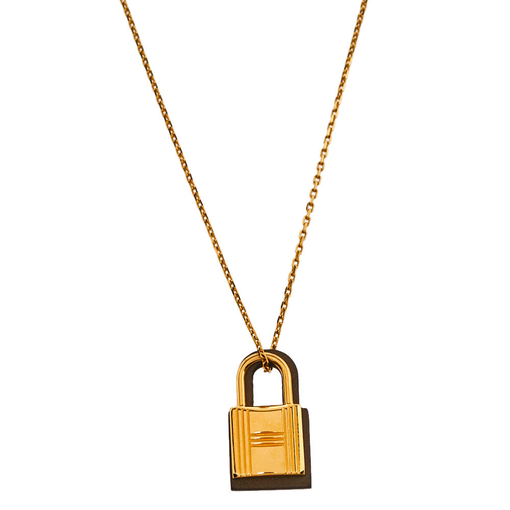 Hermès Étoupe Swift Leather Small O'Kelly Pendant Necklace