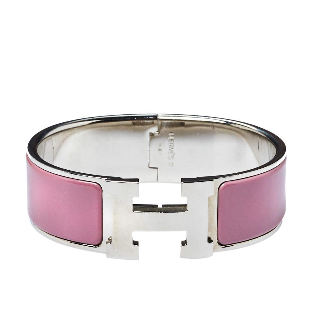 Hermes Clic Clac H Lilac Enamel Palladium Plated Bracelet