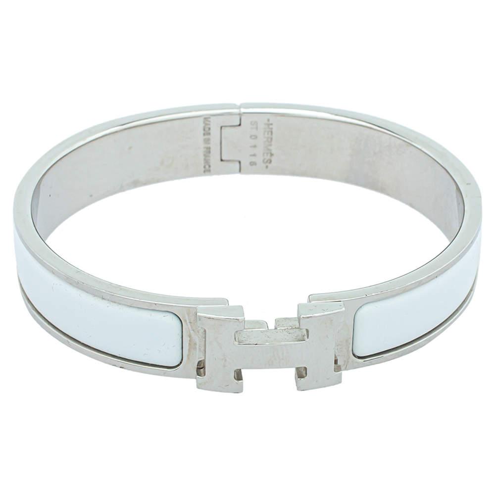 Hermès Clic H Blanc Enamel Palladium Plated Narrow Bracelet PM