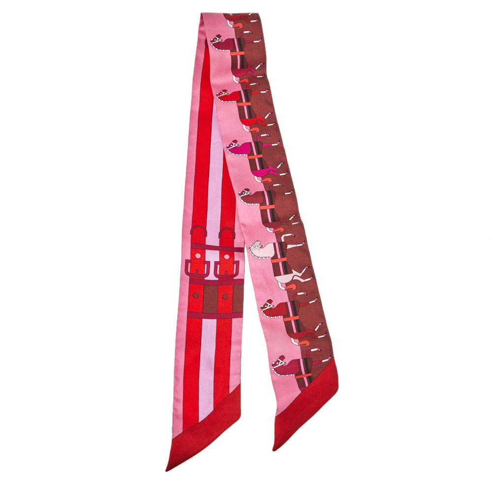 Hermes Pink Rocabar Silk Twilly Scarf