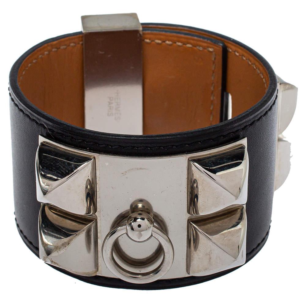 Hermès Collier de Chien Black Leather Palladium Plated Wide Bracelet S
